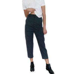 Zara Wool Cropped Gray Trousers